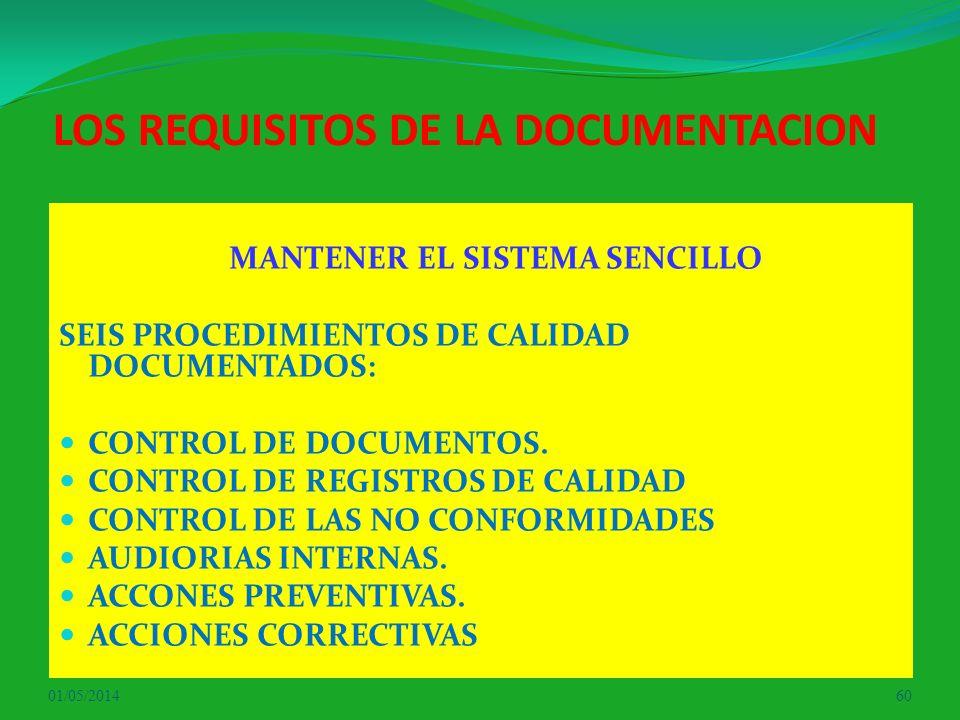 LOS REQUISITOS DE LA DOCUMENTACION MANTENER EL SISTEMA SENCILLO SEIS PROCEDIMIENTOS DE CALIDAD DOCUMENTADOS: CONTROL DE DOCUMENTOS. CONTROL DE REGISTR
