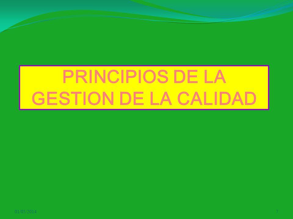 PRINCIPIOS DE LA GESTION DE LA CALIDAD 01/05/20147