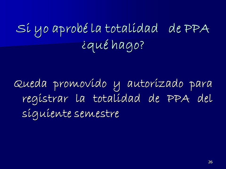 26 Si yo aprobé la totalidad de PPA ¿qué hago? Queda promovido y autorizado para registrar la totalidad de PPA del siguiente semestre
