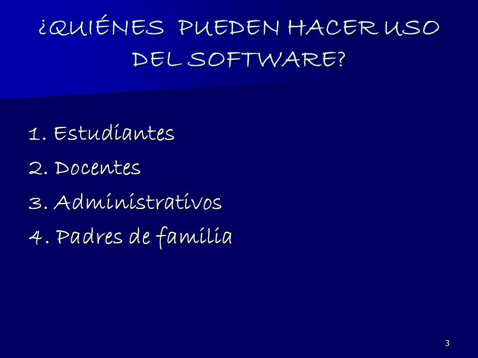 4 USOS DEL SOFTWARE 1.Inscripción de Materias 2. Programación de horarios académicos.