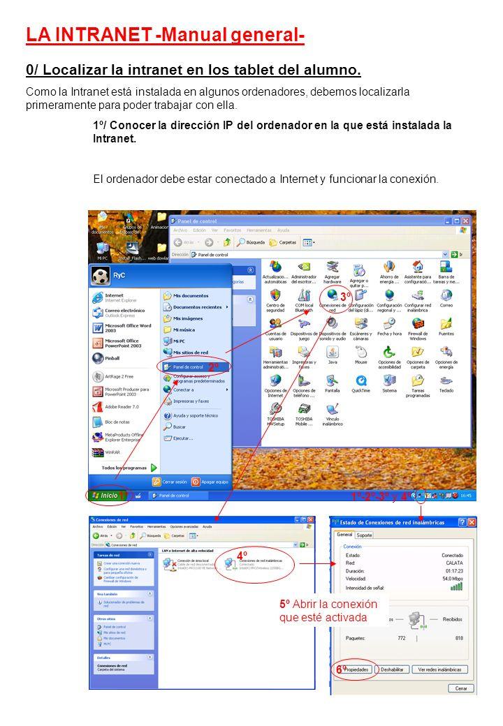 0/ Localizar la intranet en los tablet del alumno.