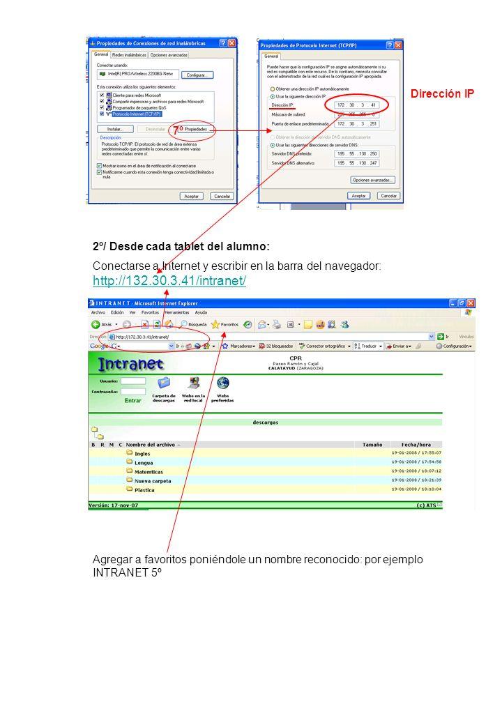 2º/ Desde cada tablet del alumno: Conectarse a Internet y escribir en la barra del navegador: http://132.30.3.41/intranet/ http://132.30.3.41/intranet/ Agregar a favoritos poniéndole un nombre reconocido: por ejemplo INTRANET 5º 7º Dirección IP
