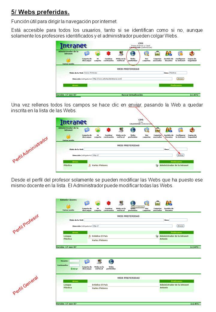 5/ Webs preferidas. Función útil para dirigir la navegación por internet.