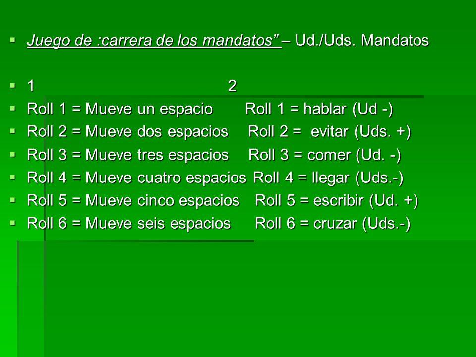 Juego de :carrera de los mandatos – Ud./Uds. Mandatos Juego de :carrera de los mandatos – Ud./Uds. Mandatos 1 2 1 2 Roll 1 = Mueve un espacio Roll 1 =
