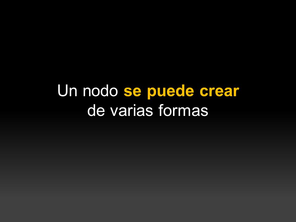 } Un nodo se puede crear de varias formas