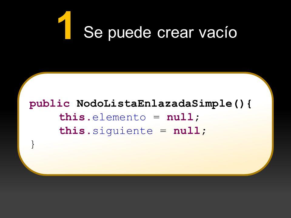 Se puede crear vacío 1 public NodoListaEnlazadaSimple(){ this.elemento = null; this.siguiente = null; }
