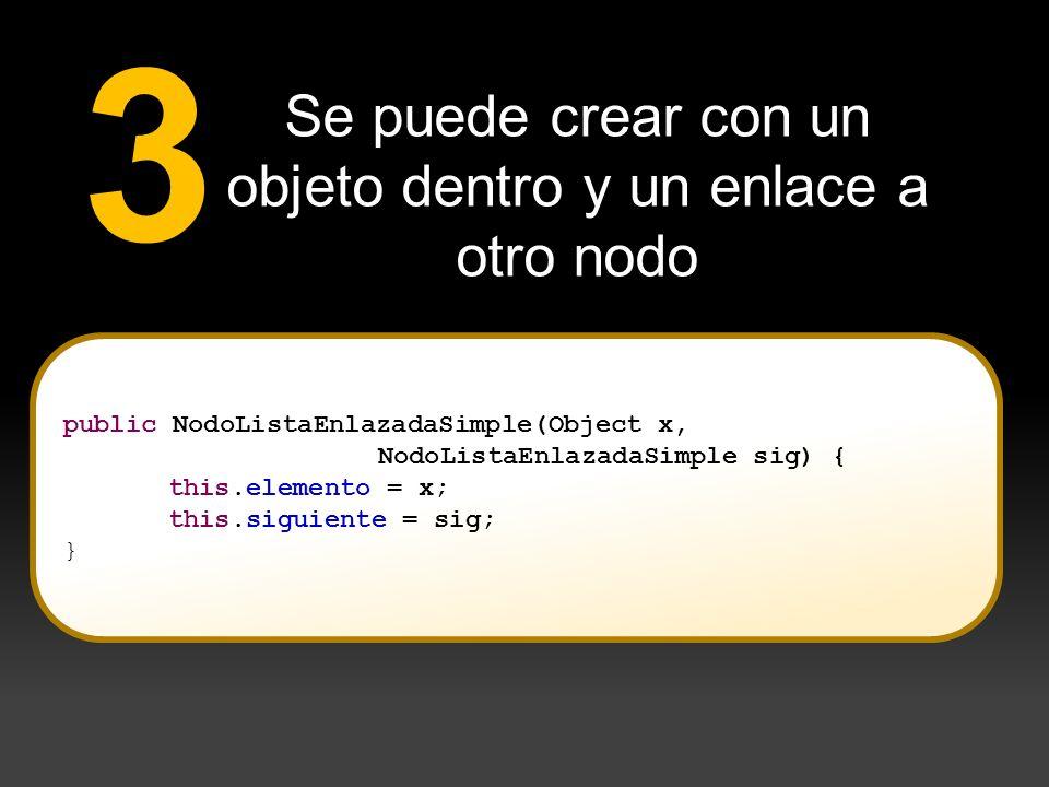 Se puede crear con un objeto dentro y un enlace a otro nodo 3 public NodoListaEnlazadaSimple(Object x, NodoListaEnlazadaSimple sig) { this.elemento =
