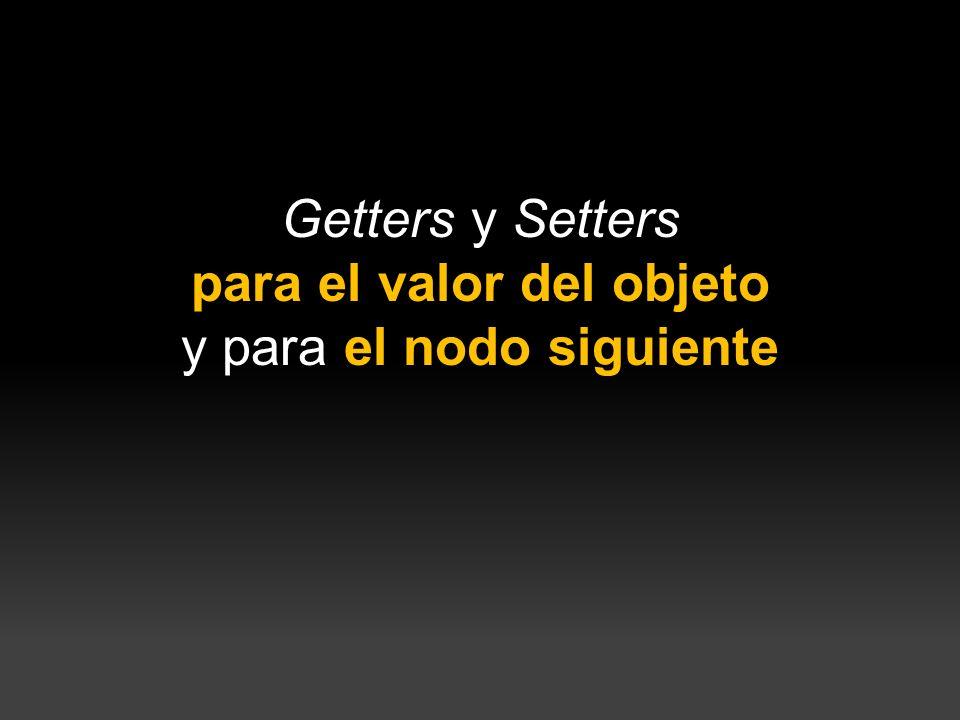 } Getters y Setters para el valor del objeto y para el nodo siguiente