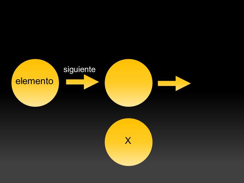 elemento siguiente X