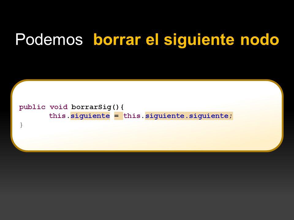 } Podemos borrar el siguiente nodo public void borrarSig(){ this.siguiente = this.siguiente.siguiente; }