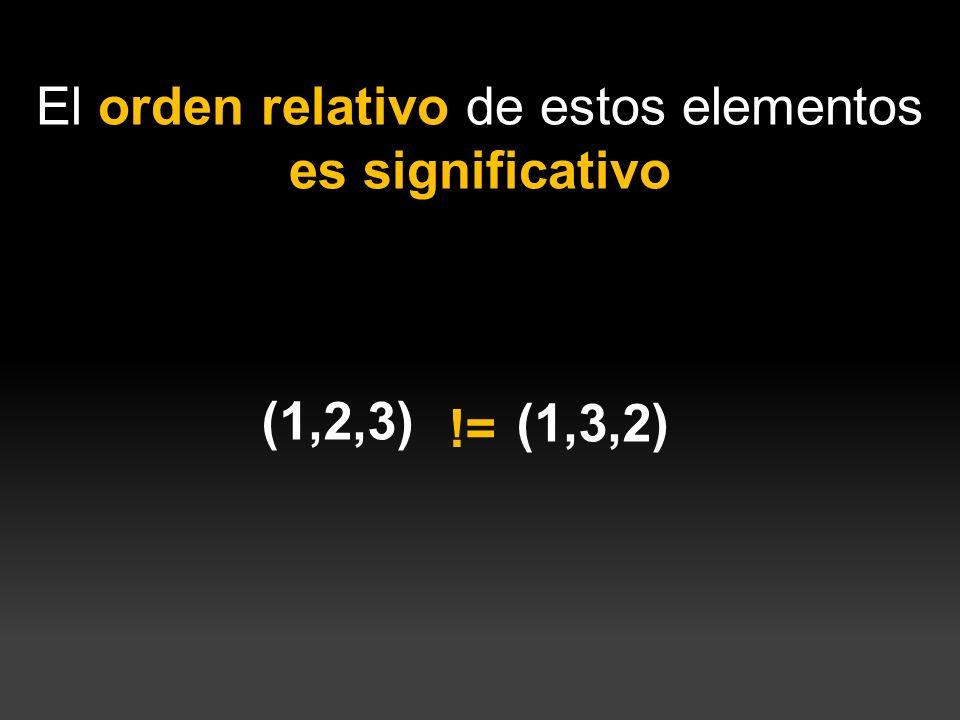 El orden relativo de estos elementos es significativo (1,2,3) (1,3,2) !=