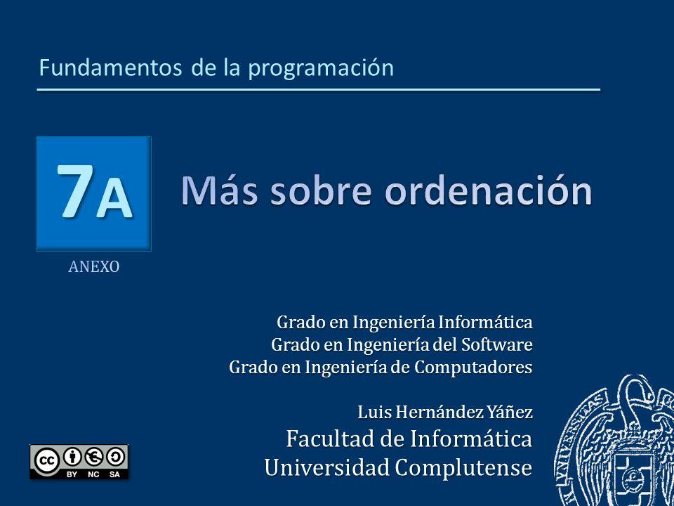 7A7A7A7A Grado en Ingeniería Informática Grado en Ingeniería del Software Grado en Ingeniería de Computadores Luis Hernández Yáñez Facultad de Informática Universidad Complutense Fundamentos de la programación