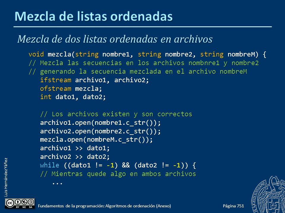 Luis Hernández Yáñez Mezcla de dos listas ordenadas en archivos void mezcla(string nombre1, string nombre2, string nombreM) { // Mezcla las secuencias en los archivos nombnre1 y nombre2 // generando la secuencia mezclada en el archivo nombreM ifstream archivo1, archivo2; ifstream archivo1, archivo2; ofstream mezcla; ofstream mezcla; int dato1, dato2; int dato1, dato2; // Los archivos existen y son correctos // Los archivos existen y son correctos archivo1.open(nombre1.c_str()); archivo1.open(nombre1.c_str()); archivo2.open(nombre2.c_str()); archivo2.open(nombre2.c_str()); mezcla.open(nombreM.c_str()); mezcla.open(nombreM.c_str()); archivo1 >> dato1; archivo1 >> dato1; archivo2 >> dato2; archivo2 >> dato2; while ((dato1 != -1) && (dato2 != -1)) { while ((dato1 != -1) && (dato2 != -1)) { // Mientras quede algo en ambos archivos // Mientras quede algo en ambos archivos......