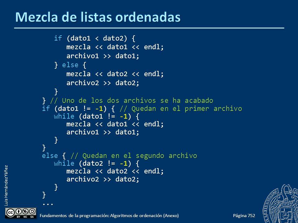 Luis Hernández Yáñez if (dato1 < dato2) { if (dato1 < dato2) { mezcla << dato1 << endl; mezcla << dato1 << endl; archivo1 >> dato1; archivo1 >> dato1;