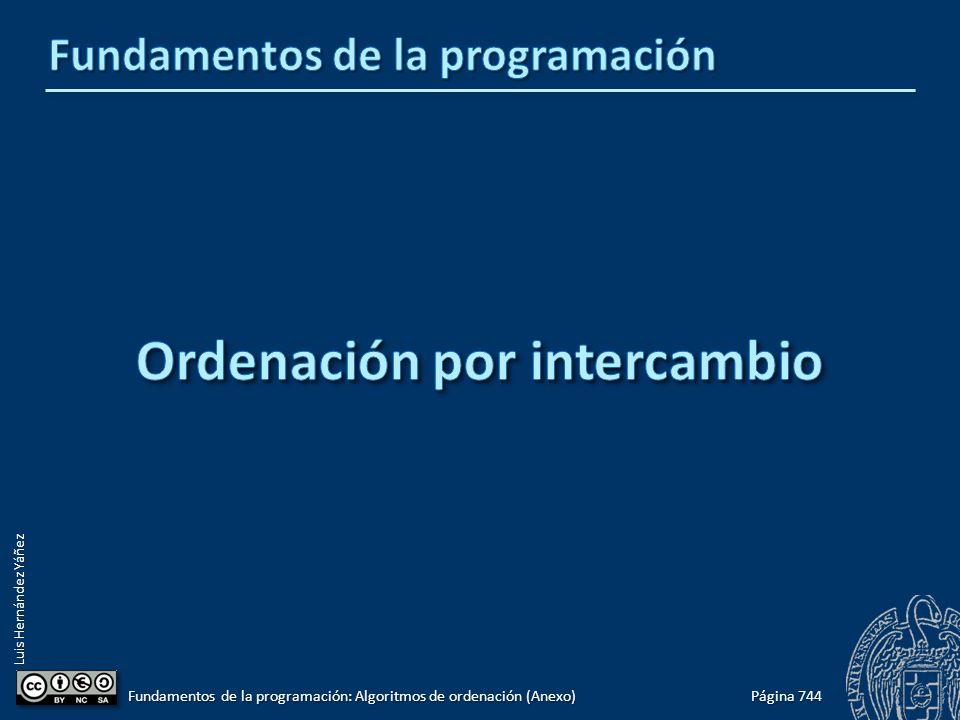 Luis Hernández Yáñez Página 744 Fundamentos de la programación: Algoritmos de ordenación (Anexo)