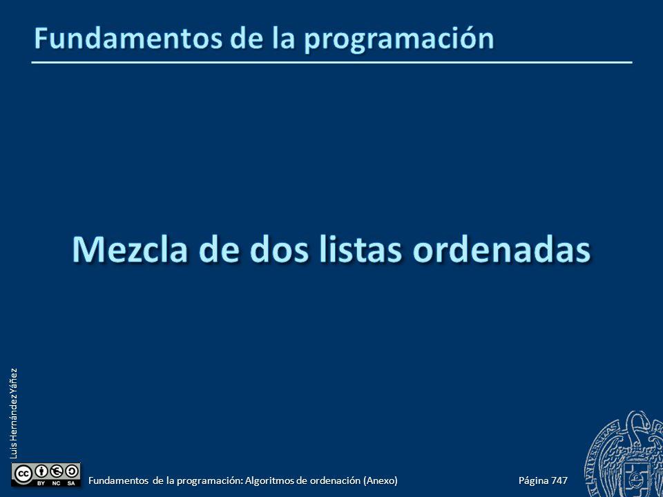 Luis Hernández Yáñez Página 747 Fundamentos de la programación: Algoritmos de ordenación (Anexo)