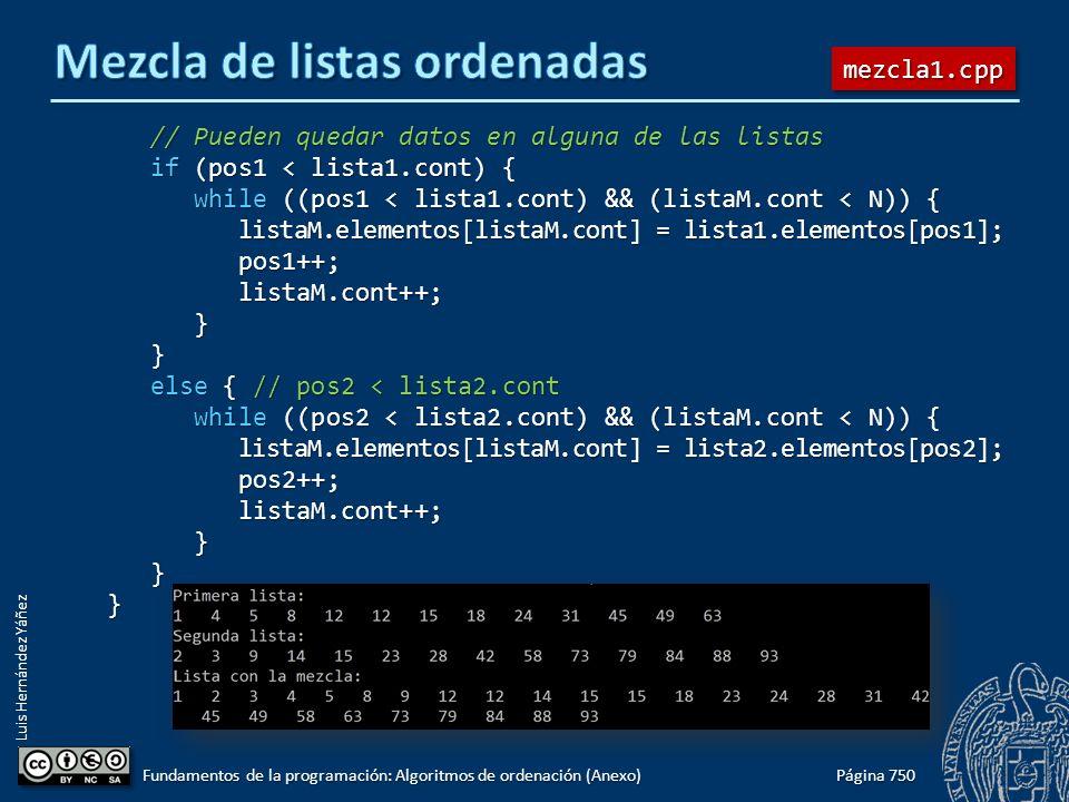 Luis Hernández Yáñez // Pueden quedar datos en alguna de las listas // Pueden quedar datos en alguna de las listas if (pos1 < lista1.cont) { if (pos1 < lista1.cont) { while ((pos1 < lista1.cont) && (listaM.cont < N)) { while ((pos1 < lista1.cont) && (listaM.cont < N)) { listaM.elementos[listaM.cont] = lista1.elementos[pos1]; listaM.elementos[listaM.cont] = lista1.elementos[pos1]; pos1++; pos1++; listaM.cont++; listaM.cont++; } } else { // pos2 < lista2.cont else { // pos2 < lista2.cont while ((pos2 < lista2.cont) && (listaM.cont < N)) { while ((pos2 < lista2.cont) && (listaM.cont < N)) { listaM.elementos[listaM.cont] = lista2.elementos[pos2]; listaM.elementos[listaM.cont] = lista2.elementos[pos2]; pos2++; pos2++; listaM.cont++; listaM.cont++; } }} Página 750 Fundamentos de la programación: Algoritmos de ordenación (Anexo) mezcla1.cppmezcla1.cpp