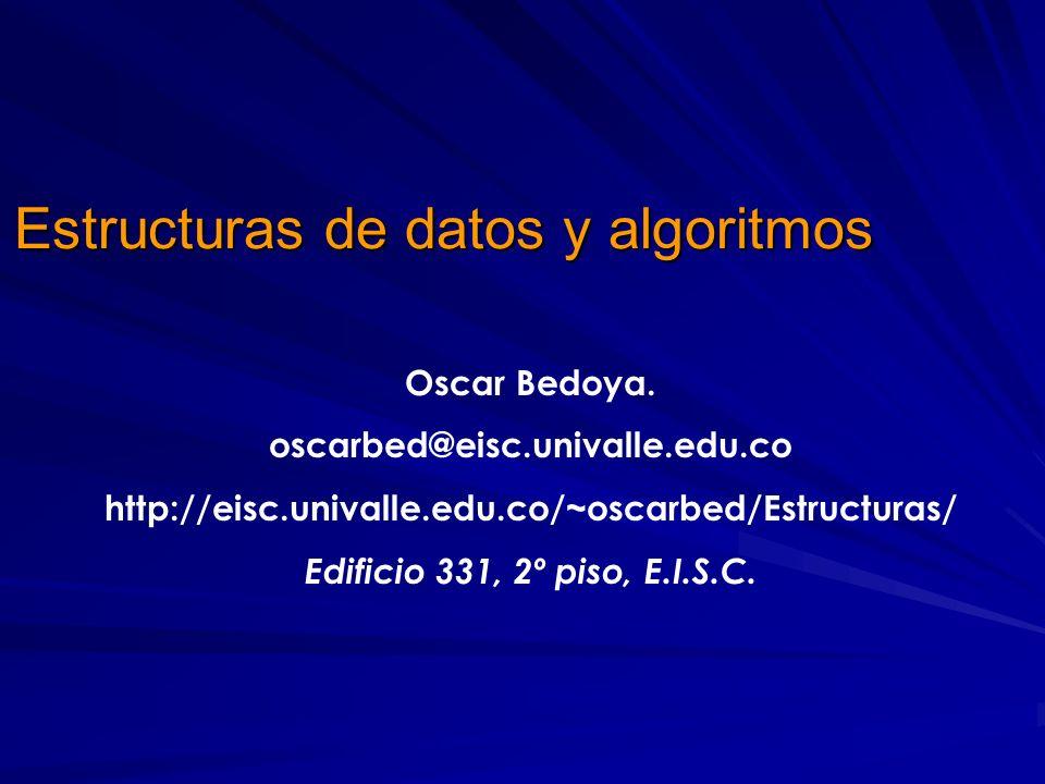 Oscar Bedoya. oscarbed@eisc.univalle.edu.co http://eisc.univalle.edu.co/~oscarbed/Estructuras/ Edificio 331, 2º piso, E.I.S.C. Estructuras de datos y