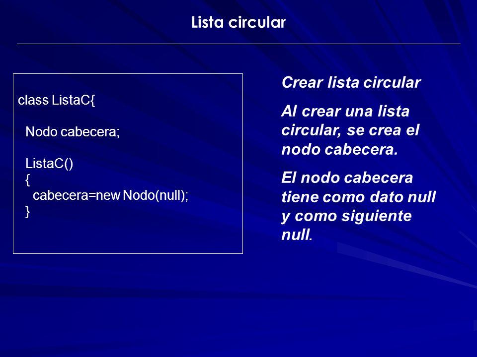 Crear lista circular Al crear una lista circular, se crea el nodo cabecera. El nodo cabecera tiene como dato null y como siguiente null. class ListaC{