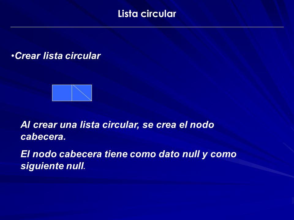 Lista circular Crear lista circular Al crear una lista circular, se crea el nodo cabecera. El nodo cabecera tiene como dato null y como siguiente null