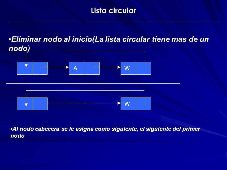 Eliminar nodo al inicio(La lista circular tiene mas de un nodo) AW W Al nodo cabecera se le asigna como siguiente, el siguiente del primer nodo Lista