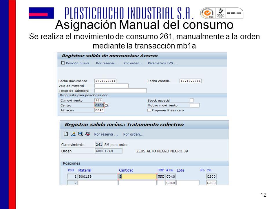 Asignación Manual del consumo Se realiza el movimiento de consumo 261, manualmente a la orden mediante la transacción mb1a 12