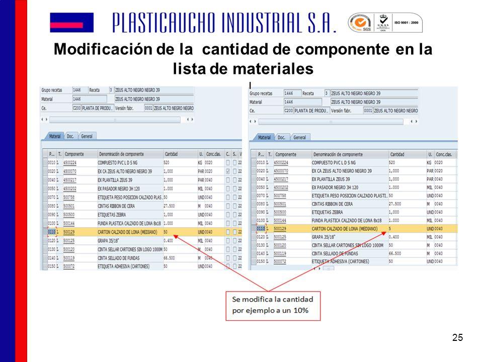 Modificación de la cantidad de componente en la lista de materiales 25