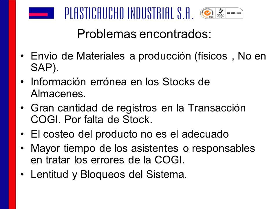 Problemas encontrados: Envío de Materiales a producción (físicos, No en SAP). Información errónea en los Stocks de Almacenes. Gran cantidad de registr