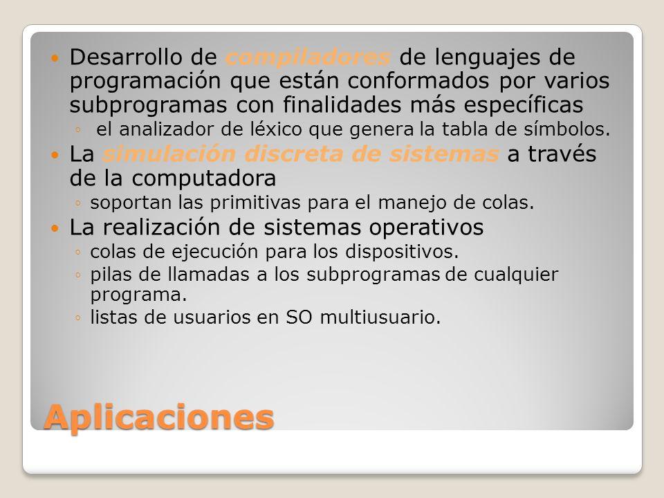 Aplicaciones Desarrollo de compiladores de lenguajes de programación que están conformados por varios subprogramas con finalidades más específicas el