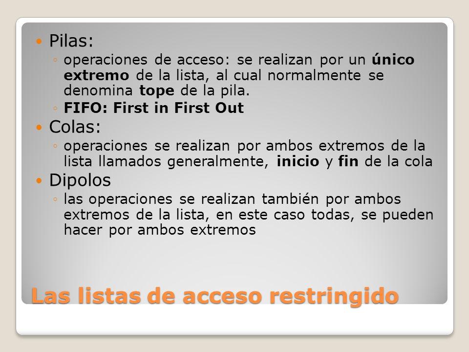 Las listas de acceso restringido Pilas: operaciones de acceso: se realizan por un único extremo de la lista, al cual normalmente se denomina tope de l