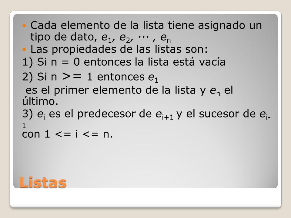 Listas Cada elemento de la lista tiene asignado un tipo de dato, e 1, e 2, ···, e n Las propiedades de las listas son: 1) Si n = 0 entonces la lista e