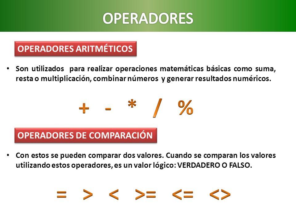 OPERADORES ARITMÉTICOS Son utilizados para realizar operaciones matemáticas básicas como suma, resta o multiplicación, combinar números y generar resu