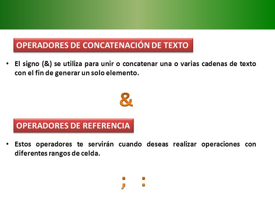 OPERADORES DE CONCATENACIÓN DE TEXTO El signo (&) se utiliza para unir o concatenar una o varias cadenas de texto con el fin de generar un solo elemen