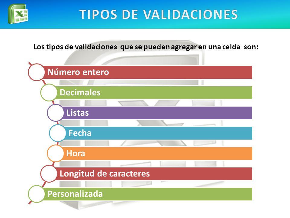 Los tipos de validaciones que se pueden agregar en una celda son: Número entero Decimales Listas Fecha Hora Longitud de caracteres Personalizada