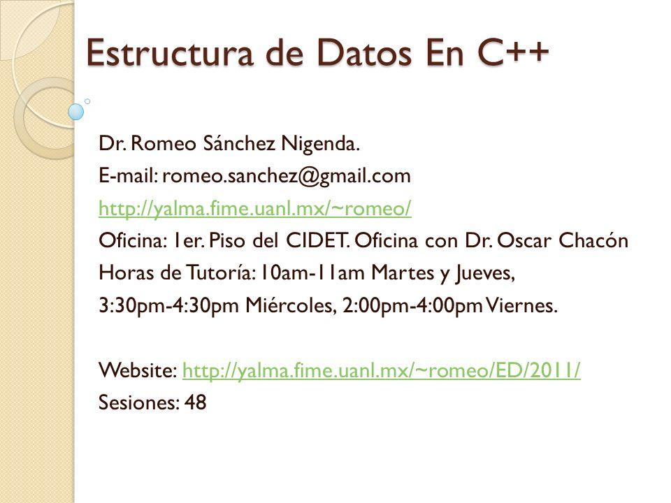Estructura de Datos En C++ Dr.Romeo Sánchez Nigenda.