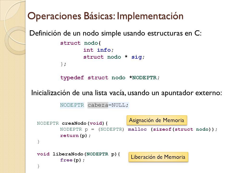 Operaciones Básicas: Implementación struct nodo{ int info; struct nodo * sig; }; typedef struct nodo *NODEPTR; NODEPTR cabeza=NULL; Definición de un nodo simple usando estructuras en C: Inicialización de una lista vacía, usando un apuntador externo: NODEPTR creaNodo(void){ NODEPTR p = (NODEPTR) malloc (sizeof(struct nodo)); return(p); } void liberaNodo(NODEPTR p){ free(p); } Asignación de Memoria Liberación de Memoria