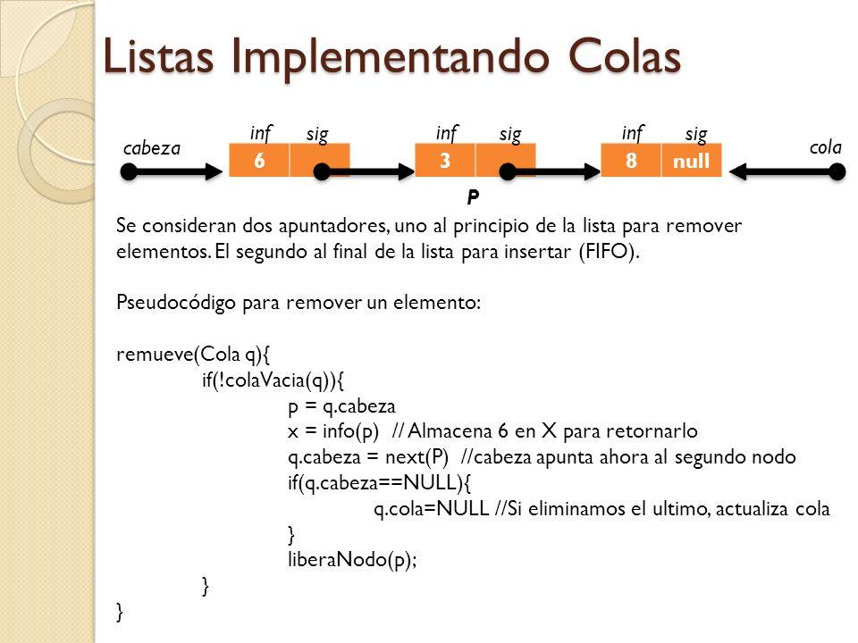 Listas Implementando Colas 6 inf sig 3 inf sig 8null inf sig cabeza P cola Se consideran dos apuntadores, uno al principio de la lista para remover elementos.