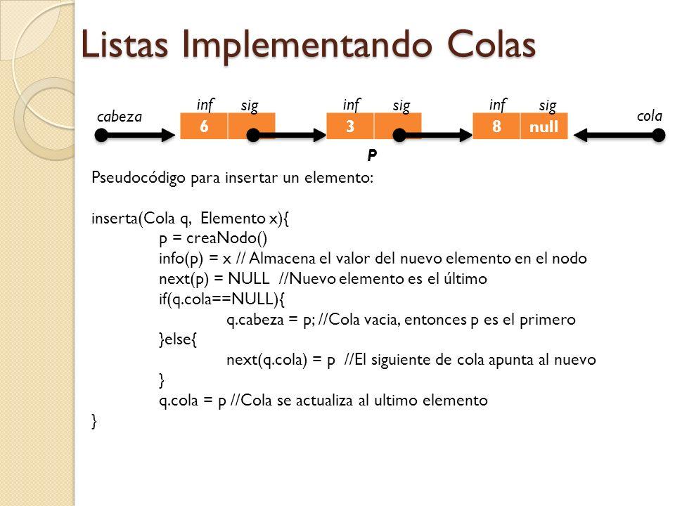 Listas Implementando Colas 6 inf sig 3 inf sig 8null inf sig cabeza P cola Pseudocódigo para insertar un elemento: inserta(Cola q, Elemento x){ p = creaNodo() info(p) = x // Almacena el valor del nuevo elemento en el nodo next(p) = NULL //Nuevo elemento es el último if(q.cola==NULL){ q.cabeza = p; //Cola vacia, entonces p es el primero }else{ next(q.cola) = p //El siguiente de cola apunta al nuevo } q.cola = p //Cola se actualiza al ultimo elemento }