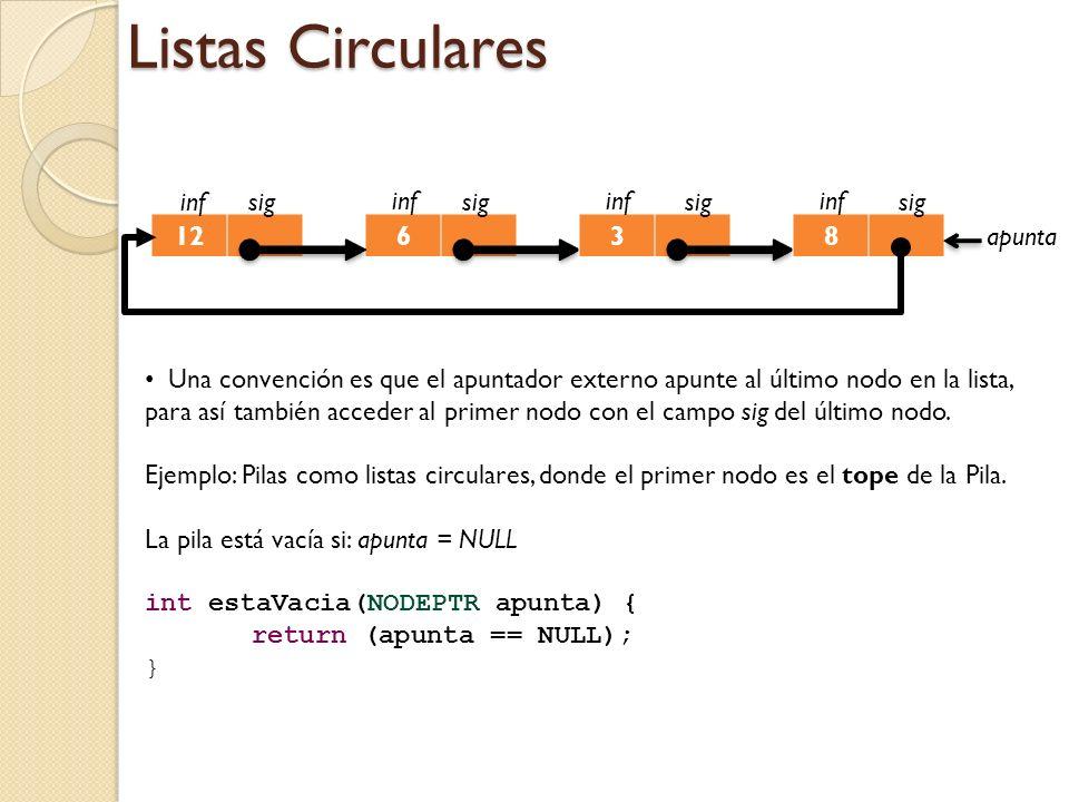 Listas Circulares 6 inf sig 3 inf sig 8 inf sig 12 infsig Una convención es que el apuntador externo apunte al último nodo en la lista, para así también acceder al primer nodo con el campo sig del último nodo.