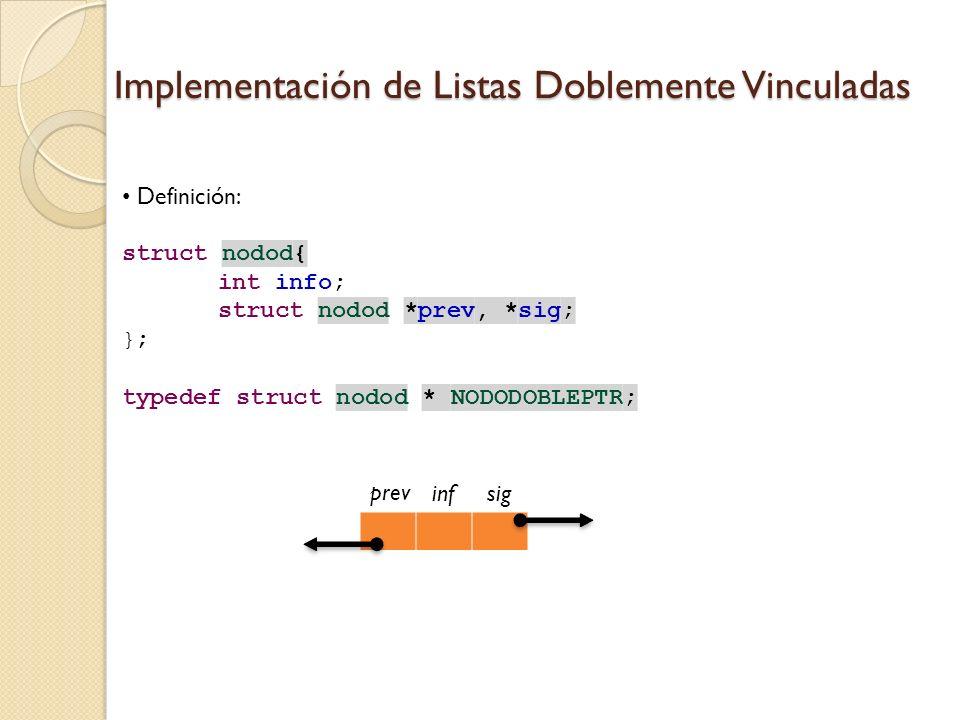 Definición: struct nodod{ int info; struct nodod *prev, *sig; }; typedef struct nodod * NODODOBLEPTR; Implementación de Listas Doblemente Vinculadas infsig prev