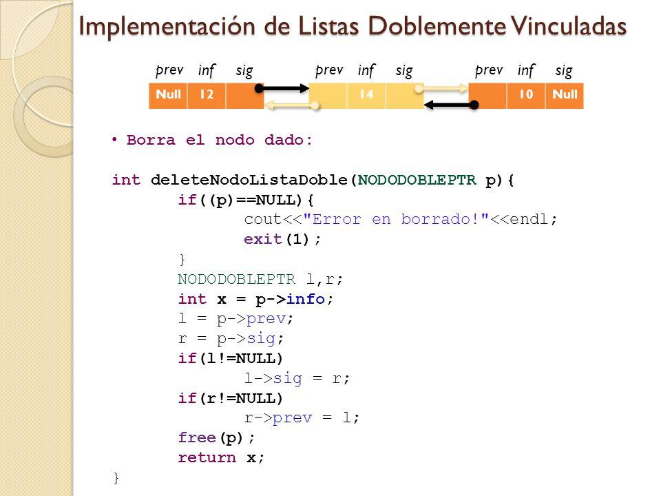 Implementación de Listas Doblemente Vinculadas Borra el nodo dado: int deleteNodoListaDoble(NODODOBLEPTR p){ if((p)==NULL){ cout<< Error en borrado! <<endl; exit(1); } NODODOBLEPTR l,r; int x = p->info; l = p->prev; r = p->sig; if(l!=NULL) l->sig = r; if(r!=NULL) r->prev = l; free(p); return x; } infsig Null12 prev infsig 14 prev infsig 10Null prev