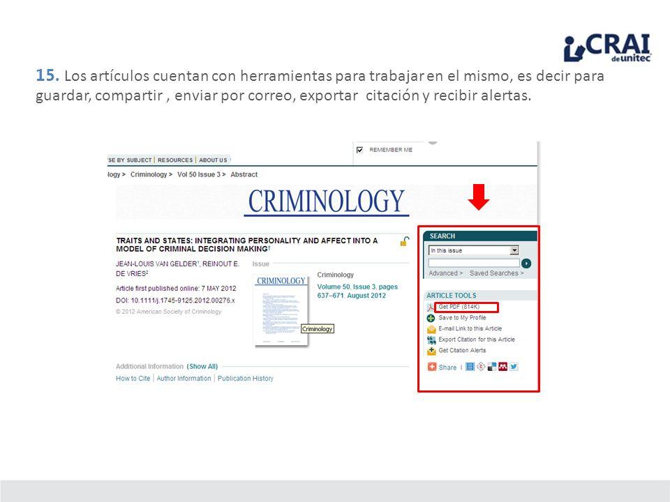 15. Los artículos cuentan con herramientas para trabajar en el mismo, es decir para guardar, compartir, enviar por correo, exportar citación y recibir