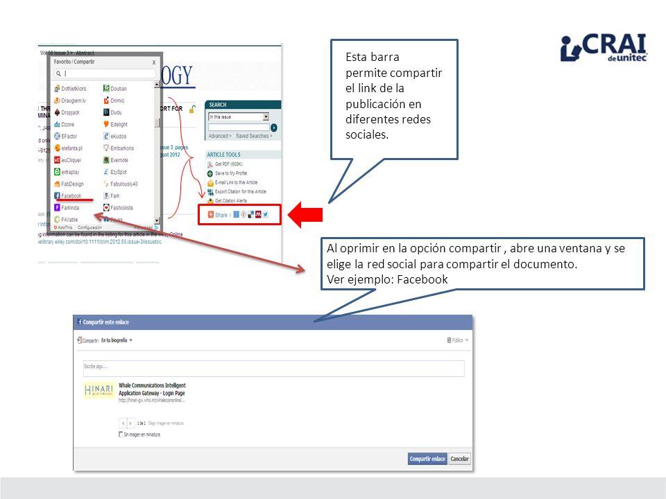 Esta barra permite compartir el link de la publicación en diferentes redes sociales.