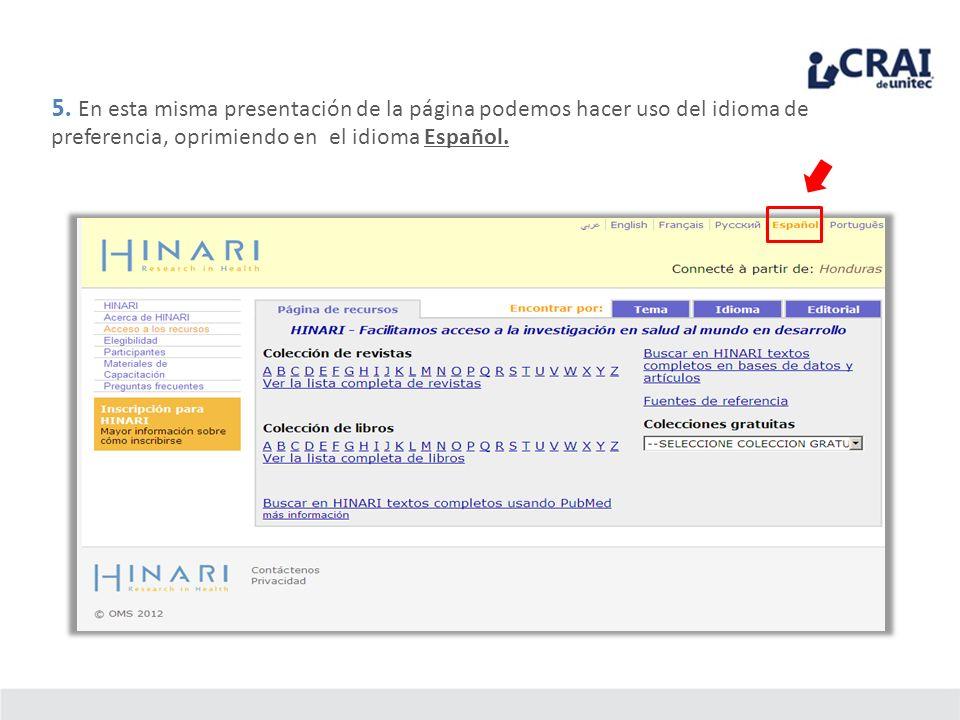5. En esta misma presentación de la página podemos hacer uso del idioma de preferencia, oprimiendo en el idioma Español.