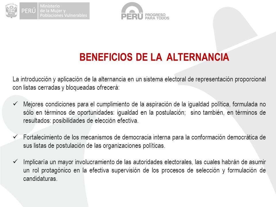 BENEFICIOS DE LA ALTERNANCIA La introducción y aplicación de la alternancia en un sistema electoral de representación proporcional con listas cerradas