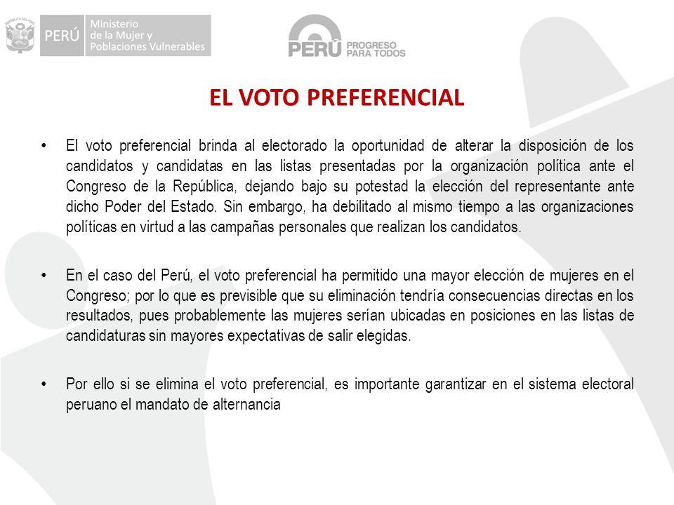 EL VOTO PREFERENCIAL El voto preferencial brinda al electorado la oportunidad de alterar la disposición de los candidatos y candidatas en las listas p