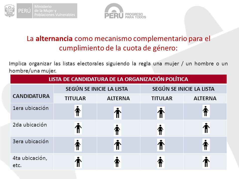 La alternancia como mecanismo complementario para el cumplimiento de la cuota de género: Implica organizar las listas electorales siguiendo la regla una mujer / un hombre o un hombre/una mujer.
