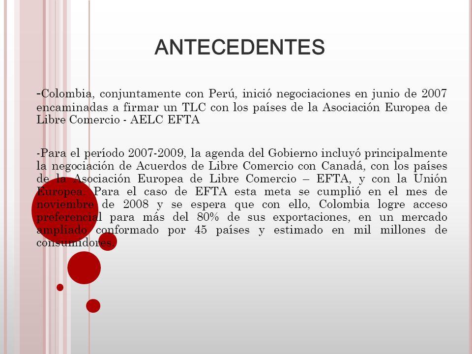 ALCANCE DEL ACUERDO La importancia de este Tratado para Colombia se puede resumir en los siguientes puntos: -Ampliación de mercados: Para el gobierno colombiano es prioritario fortalecer el acceso de nuestras exportaciones con mayor valor agregado a mercados, como el de los países de la AELC, que se caracterizan por su alto poder adquisitivo.
