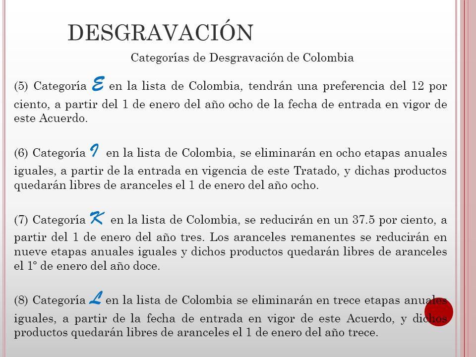 DESGRAVACIÓN Categorías de Desgravación de Colombia (9) Categoría M en la lista de Colombia se eliminarán en diecisiete etapas anuales iguales, a partir de la fecha de entrada en vigor de este Acuerdo, y dichos productos quedarán libres de aranceles el 1 de enero del año diecisiete.