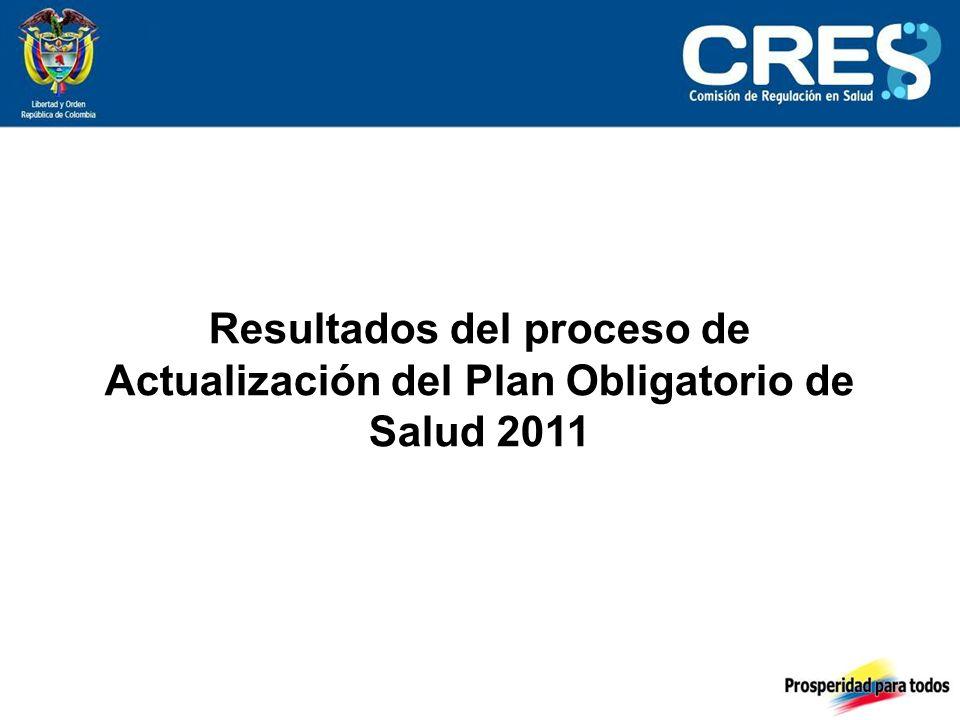 Resultados del proceso de Actualización del Plan Obligatorio de Salud 2011